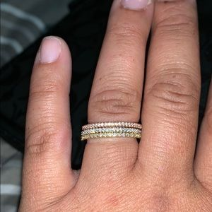🆕.925 Tri-Colored 3-Ring Eternity Band Set🆕🌸